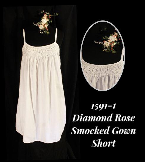 1591-1 Diamond Rose Smocked Short