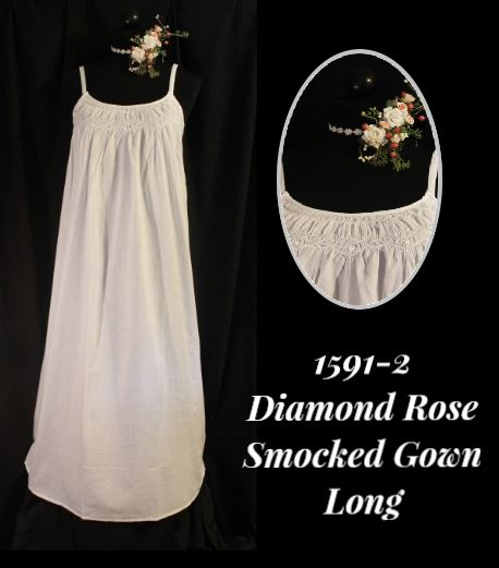 1591-2 Diamond Rose Smocked Gown Long