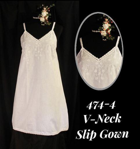 474-4 V-Neck Slip Gown