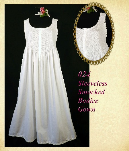 O24 Sleeveless Smocked Gown-100% smocked white smocked cotton